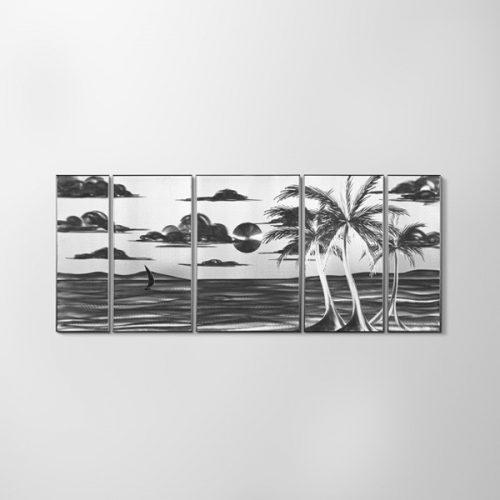 ZANGA tengerpart alumínium falikép, 140x60 cm