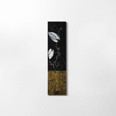ZANGA borostyán alu-olaj kombó dombormű falikép, 30x120 cm