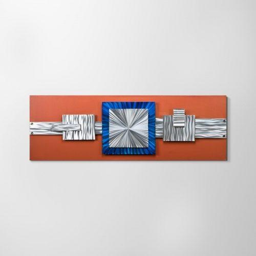 ZANGA modern építészet alu-olaj kombó dombormű falikép, 150x50 cm