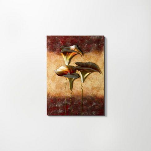 ZANGA liliom alu-olaj kombó dombormű falikép, 50x70 cm