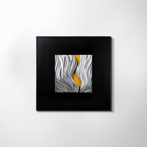 ZANGA sárga folyó alu-olaj kombó dombormű falikép, 80x80 cm