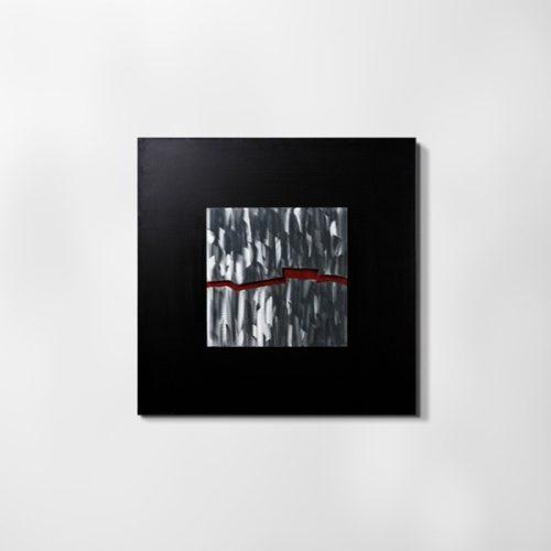 ZANGA törésvonal alu-olaj kombó dombormű falikép, 80x80 cm