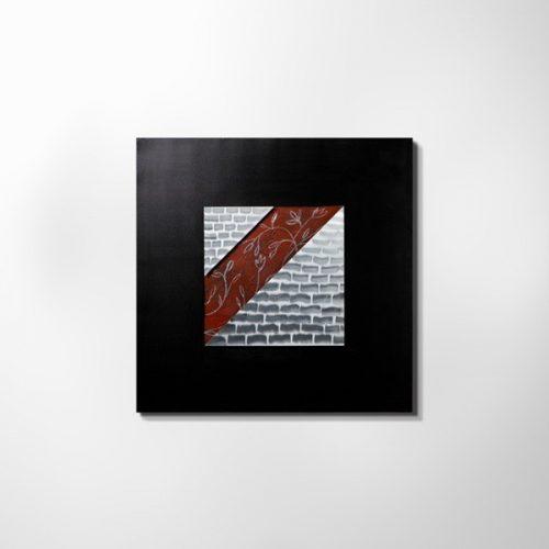 ZANGA kockakő alu-olaj kombó dombormű falikép, 80x80 cm