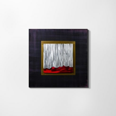 ZANGA bíbor kanyon alu-olaj kombó dombormű falikép, 80x80 cm