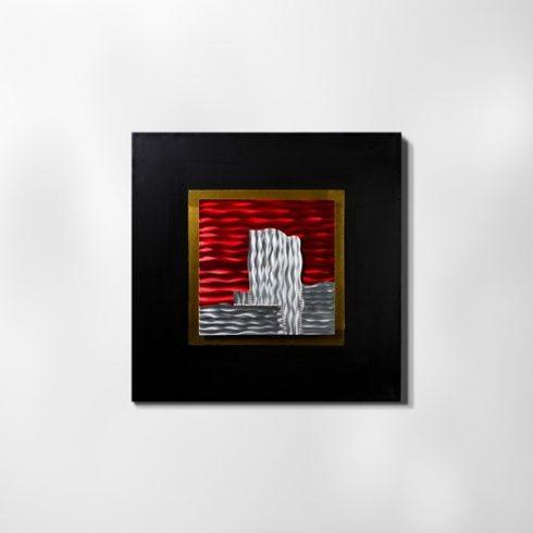 ZANGA vörös naplemente alu-olaj kombó dombormű falikép, 80x80 cm
