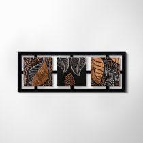ZANGA levélmontázs bőr falikép, 112x42 cm