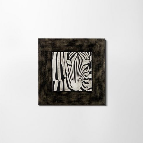ZANGA zebra bőr falikép II, 60x60 cm