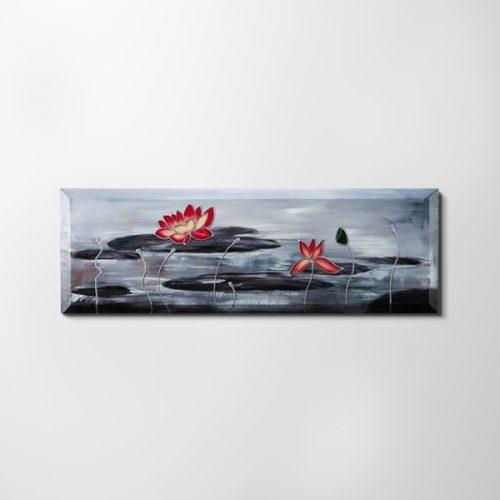 ZANGA lótuszvirág olajkép II, 120x40 cm